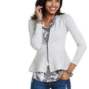 Cabi gray Willow zip up peplum cardigan 3005 small